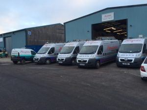 Newglaze Vans Being Loaded for Another Busy Day